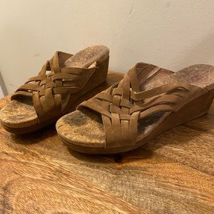Cork and suede wedges
